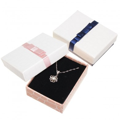 Paper Square Bowknot Necklace Jewelry Packaging Gift Caja Almacenamiento Caso