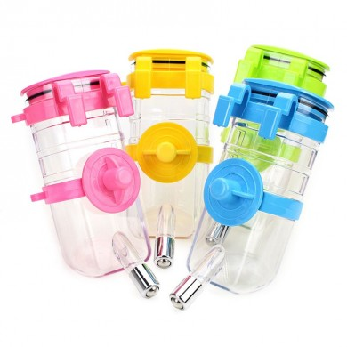 375ML Automatic Pet Drinking Fountains Water Feeder Home Travel Hanging Design Water Bottles