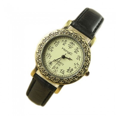 HONGC225 Vintage Elegant Women Oracle Pattern Leather Quartz Watch