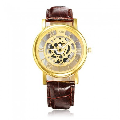 Roman Business Casual Hollow PU Strap Analog Wrist Watch