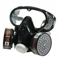 Respirator Gas Mask Safety Chemical Anti-Dust Filter Military Eye Goggle Set Workplace Safety Prote