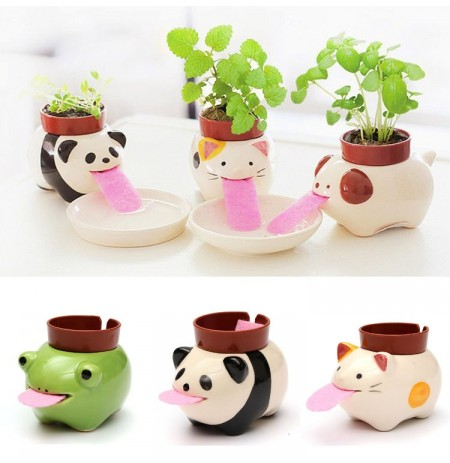 DIY Mini Cerâmica Animal Tougue Self-watering Planta Potted Home Office Desktop Decor