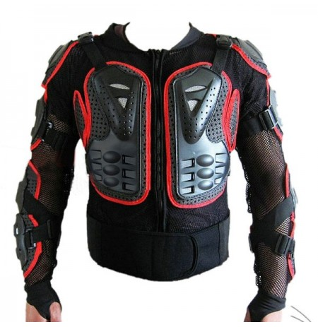 Motorcycle Auto Racing Back Armor Protection Jacket Red Side M