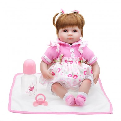 NPK Doll 22'' Reborn Silicone Handmade Lifelike Realistic Newborn Toy For Girl Birthday Gift
