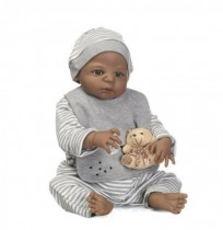 NPK 57CM Full Body Silicona Black Boy Reborn Baby Doll Soft Los niños del oso Bathe Playmate Toys