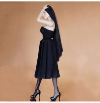 Black Dress With High Heels For 1/6 12inch BJD Doll Dress Fashion Clothes DIY Accessories Toy