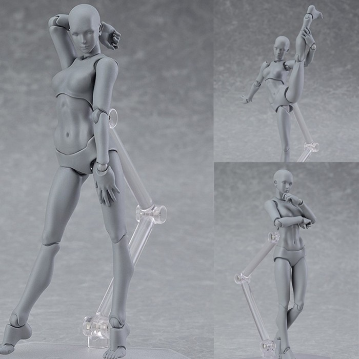Figma Archetype Action Figure Doll PVC M2.0 Body Female Grey Color Model Doll For Decoration