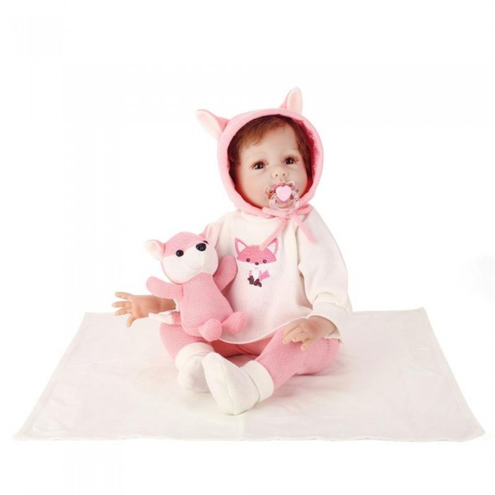 NPK 55CM Silicone Full Girl Body Reborn Doll Real Life Princess Baby Doll With Sounder