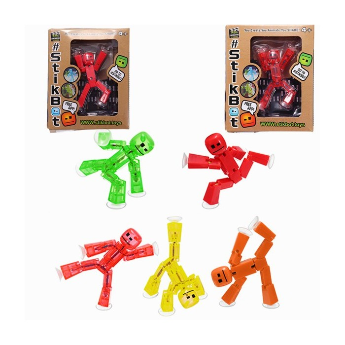 5PCS Stikbot Sucker Ventosa Divertente Deformabile Sticky Robot Action Figure Toy
