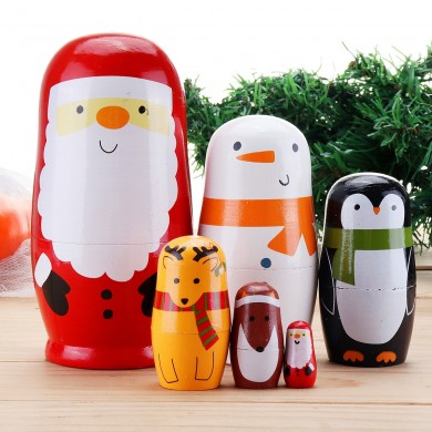 6pcs Russian Wooden Nesting Doll Handcraft Decoration Christmas Gifts