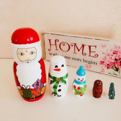 5PCS Matryoshka Doll Russian Nesting Wooden Doll Set