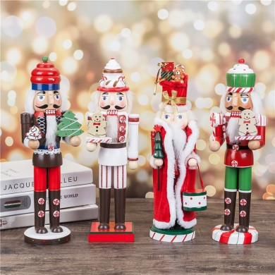 Christmas Wooden Nutcracker Doll Soldier Vintage Handcraft Decoration Gifts Collection