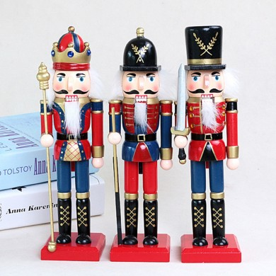 25cm Wooden Nutcracker Doll Soldier Vintage Handcraft Decoration Christmas Gifts