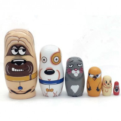 6 Pcs Wooden Russian Nesting Doll Handmade Matryoshka Hand Painted Kids Toy