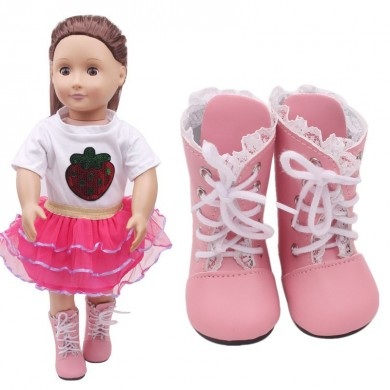 Doll Shoes For American Girl 18Inch Handmade Lace Short Boots Action Figure Dress up Accessories Toys