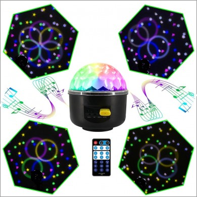 LUSTREON 10W RGB LED Party Disco Kristall Magic Ball Effekt Musik Bühnenlicht Sound-aktiviert Remote