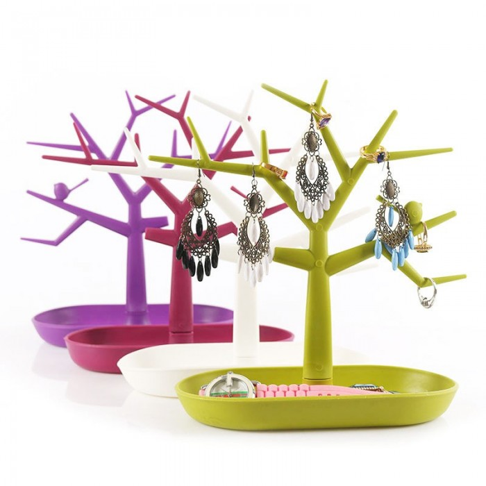 Colorful Bird Tree Jewelry Pantalla Soporte de plástico Organizador