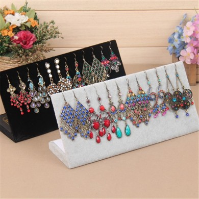 Jewelry Display Rack Velvet L Stand Holder a forma di