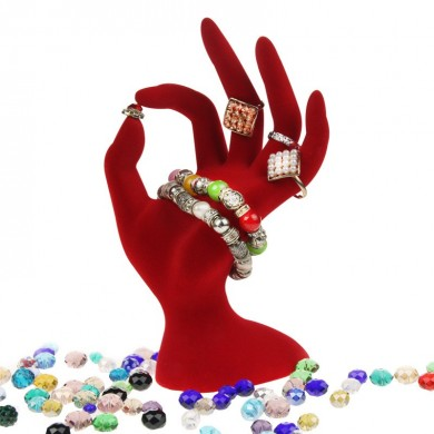 1Pcs Black / Red Velvet Jewelry Display Stand Ring Bracelet Necklace Hanging Hand Holder Show Rack