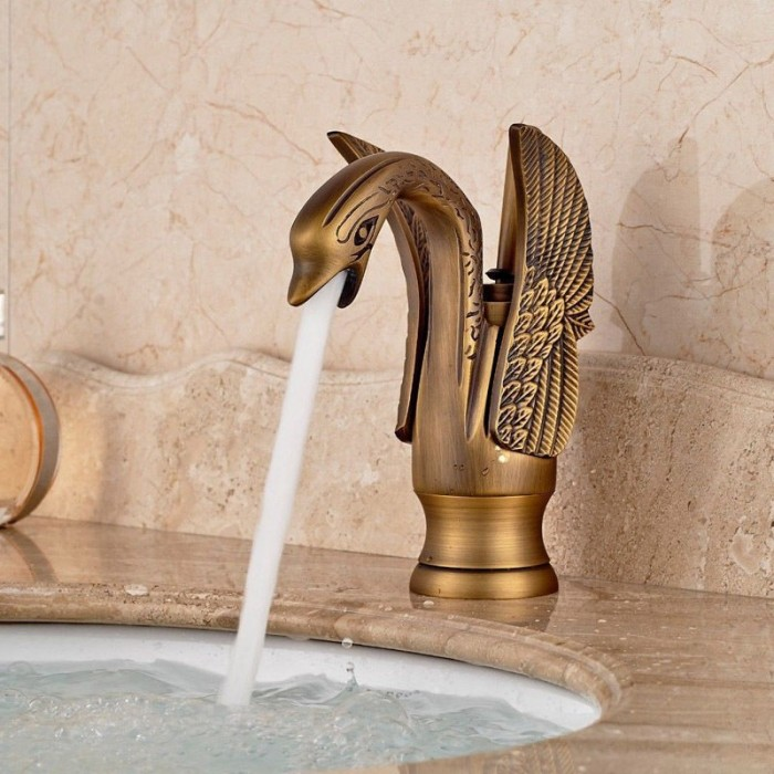 Swan Design Spout Bathroom Basin Mixer Taps Single Lever//Hole Hot/&Cold Faucet
