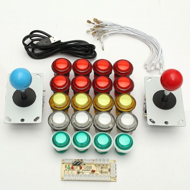 Double Player USB Encoder Joystick 8 voies LED Boutons lumineux PC Arcade Games Kit de bricolage
