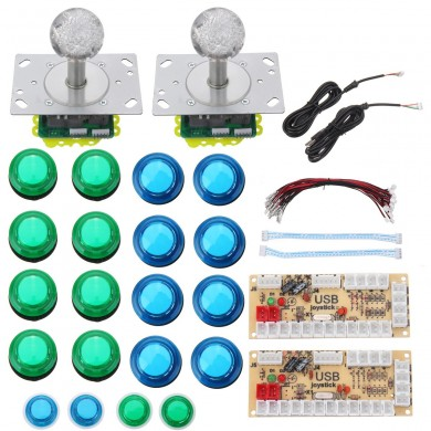 Colorful LED Joystick Push Button USB Encodeurs Arcade Game Controller DIY Kit