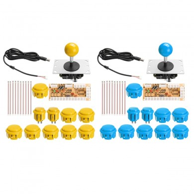Blue Yellow Dual Arcade Jostick Game Controller DIY Kit for PC Game