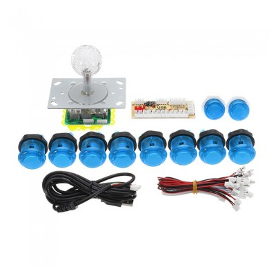 Dual Players Blue PC USB Encoders Double Joysticks Controller Push Buttons DIY Set Kit for Arcade Game