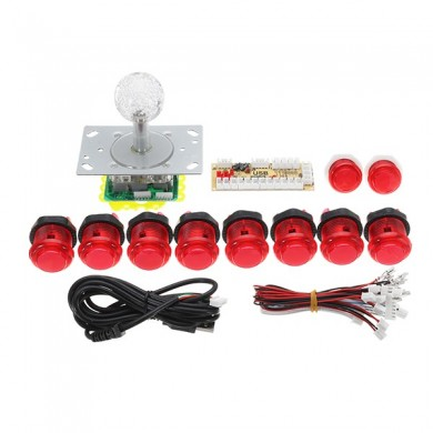 Dual Players Red PC USB Encoders Double Joysticks Push Buttons DIY Set Kit Arcade Game controller