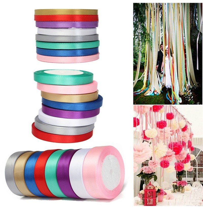 10mm 25Yards Reel Grosgrain Ribbon Wedding Birthday Party Gift Candy Box Decoration (Color: Green) фото