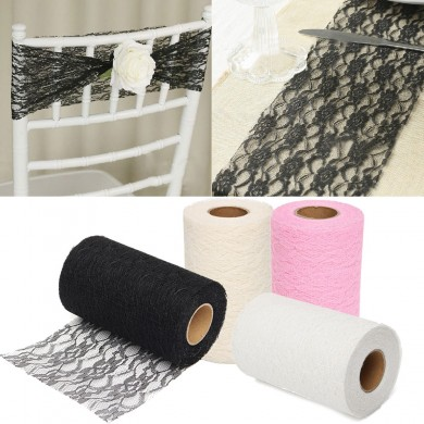 24 Yards Lace Roll Fabric Tulle Table Runner Chair Sash Craft Handmade Wedding Party Decoration