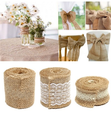 2M Jute Hessian Sackleinen Natural Craft Floristry Ribbon rustikale Hochzeit Dekoration