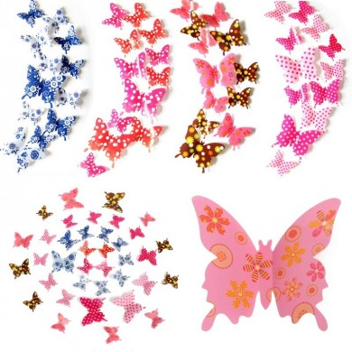 12pcs forme 3d papillon dot coloré stickers muraux art décalcomanies partie décoration maison de mariage