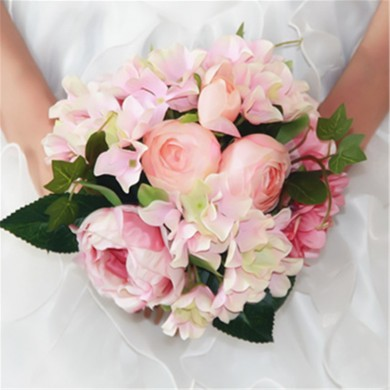 Bride Artificial Silk Rose Peony Hydrangea Bouquet Bridesmaid Flower Girl Wedding Party Decoration