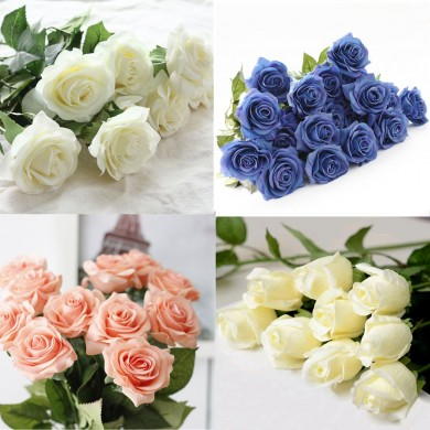 10 Heads Real Latex Touch Rose Flowers Bouquet Wedding Home Decoration