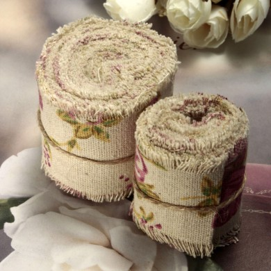 2M/5M Rose Printed Burlap Hessian Jute Ribbon Floral Wedding Party Decoration