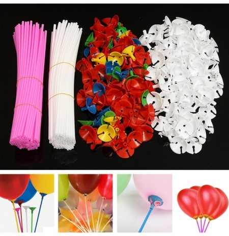 50Pcs White Colorful Plastic Balloon Holder Sticks Rods W Cups Wedding Party Decoration