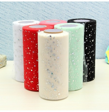 25yards Sequin Tulle Roll Tutu Crafts Sewing Accessories Fabric Patchwork Wedding Decoration