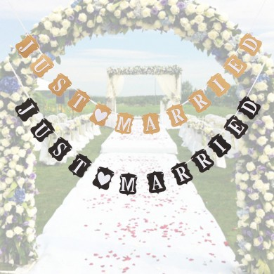 JUST MARRIED Bunting Hochzeit Banner Girlande Partei Fotografie Flaggen Dekoration Foto Requisiten Zubehör