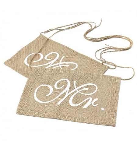 1 Pair Mr Mrs Wedding Chair Bunting Hessian Jute Burlap Banner Party Decoration
