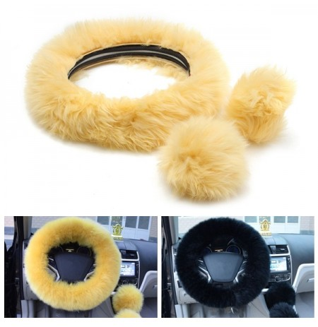 3Pcs Peluche en laine Soft Car Steel Ring Wheel Cover Woolen Auto Handbrake Shift Knob Guard