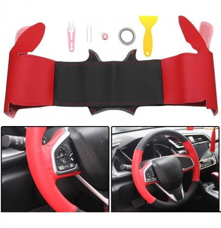 DIY PU Leather Car Steering Wheel Covers Wrap Trim for Honda Civic 2016-2018