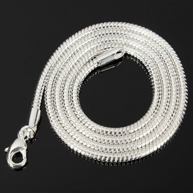 Unisex 3mm Silver Plated Solid Snake Chains Ожерелье