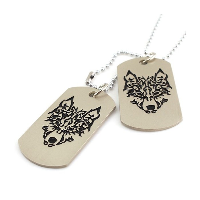 Military Army 2 Dog Tags Wolf Pendant Charm Men Chain Necklace