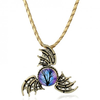 Unisex Trinity Angel Wings Chain Fidget Spinner Necklace for Женское Мужчины