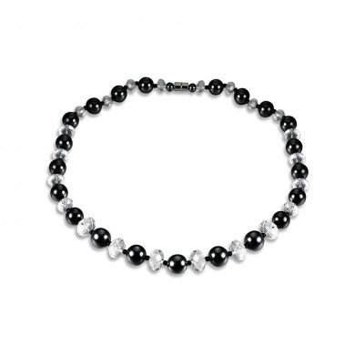 Fashion Black High Polished Men Collier en perles Magnet Stone Crystal Healing Jewelry