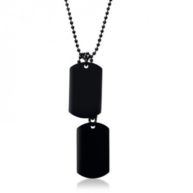 Stainless Steel Hangtag Pingente Black Plating Men Necklace