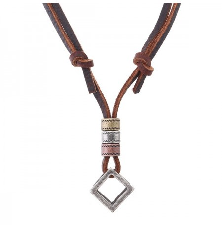 Punk Leather Rope Chain Adjustable Long Necklace for Men