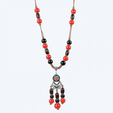 Unisex vendimia Ceramics Beads Long Colgante Sweater Necklace