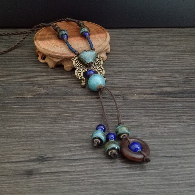 Vintage Blue Ceramic Beaded Pendant Wax Rope Necklace
